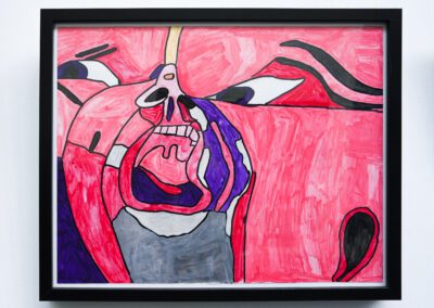 This work is a very colour, semi-abstract, semi-figurative work.