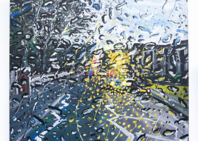 Object: Raindrops Action: Trickling Context: on the outside of a car windscreen A 100x100 centimetre Acrylic painting capturing raindrops trickling on the outside of a car windscreen. Using dull blues, greys, black and white contrasting with bright yellow car headlights from oncoming traffic during this stormy downpour.