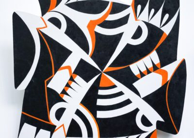 The image is a vignette, that is to say that what was once a square shape of plywood has had its edges cut into. The top and bottom edges are almost reverse mirror images, as are the different top and bottom edges. The whole image is comprised of hard edge shapes in black, white and small amounts of orange. The composition is arranged in an X. The parts derive from a study of the structure of the bird and include, bars, semi-circles, darts and chevrons, and curved wedges. The work measures 60 x60 cm and is painted in oils.
